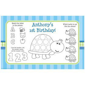 First Birthday Turtle Personalized Activity Mat (8 pack)