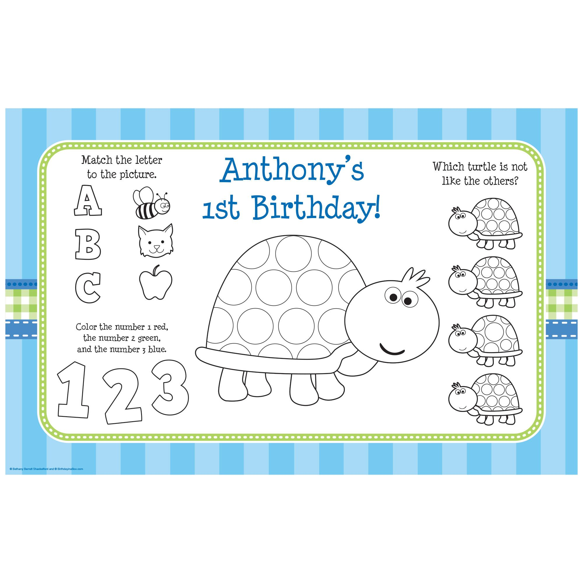 First Birthday Turtle Personalized Activity Mat (8 Pack) BB101695