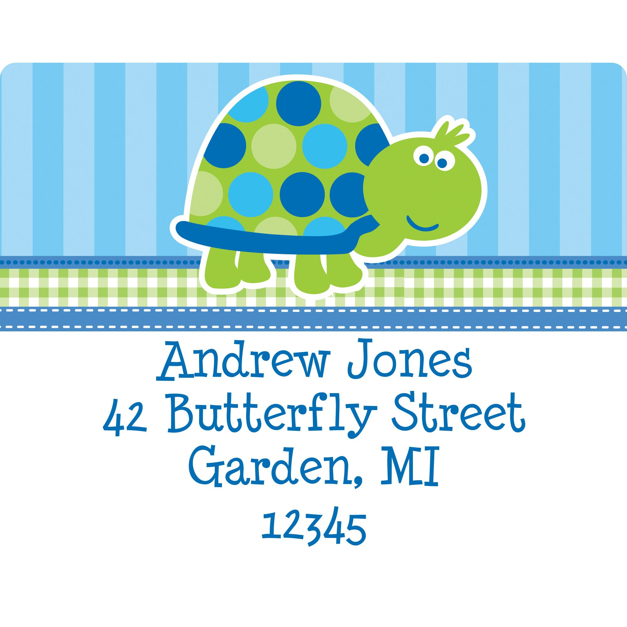 First Birthday Turtle Personalized Address Label BB101698