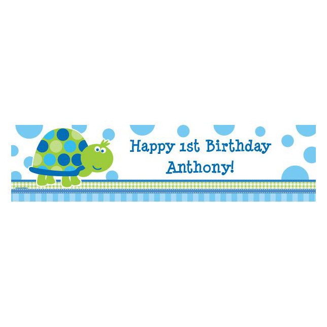 First Birthday Turtle Personalized Banner (Each) BB101697