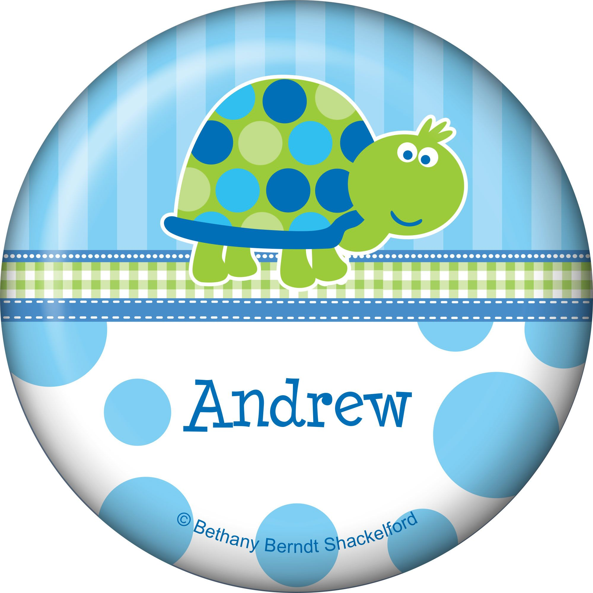First Birthday Turtle Personalized Button (Each) BB101688