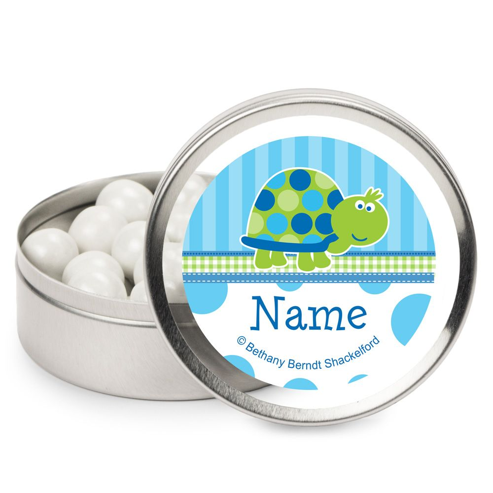 First Birthday Turtle Personalized Candy Tins (12 Pack) - Party Supplies BB101686MT