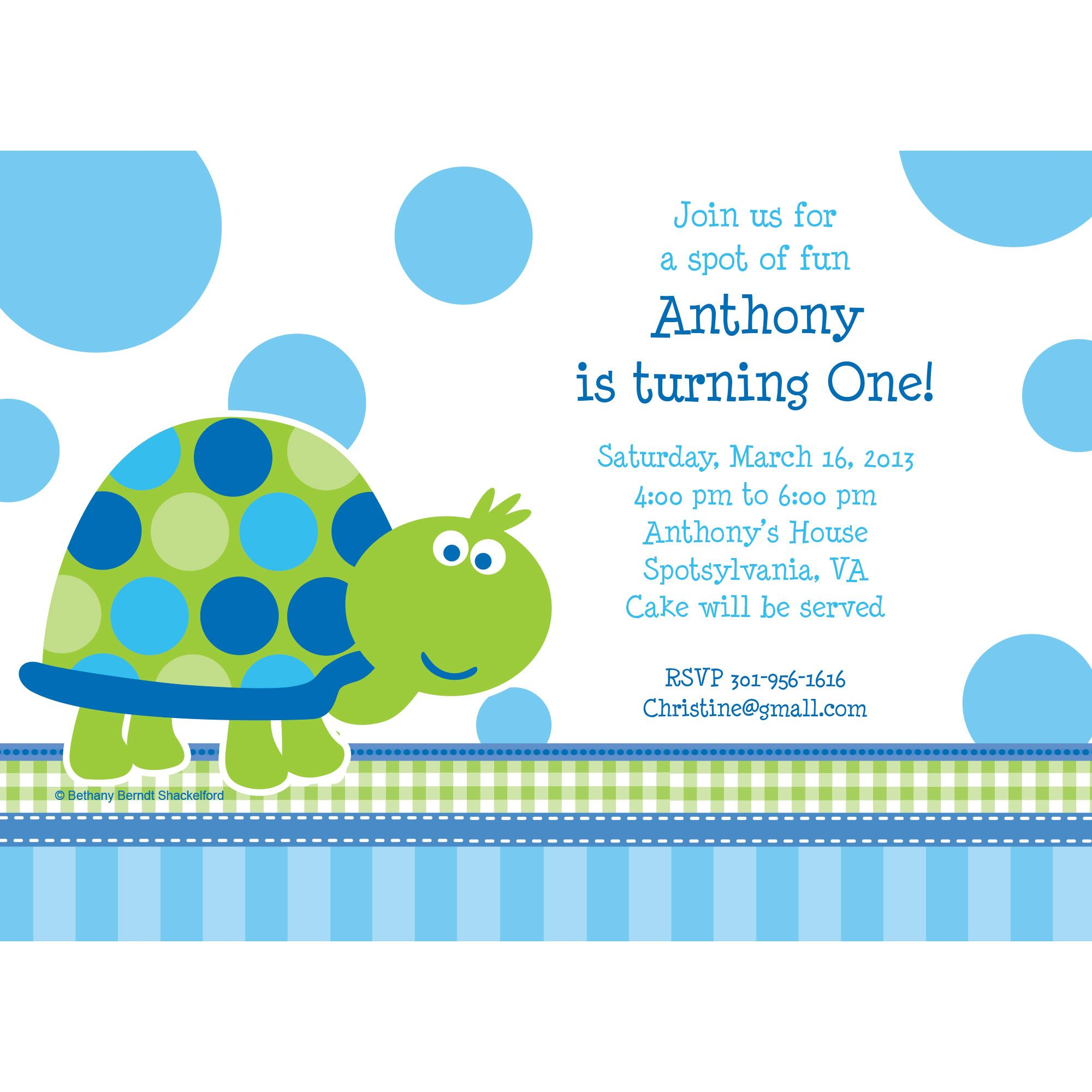 First Birthday Turtle Personalized Invitation (Each) BB101684