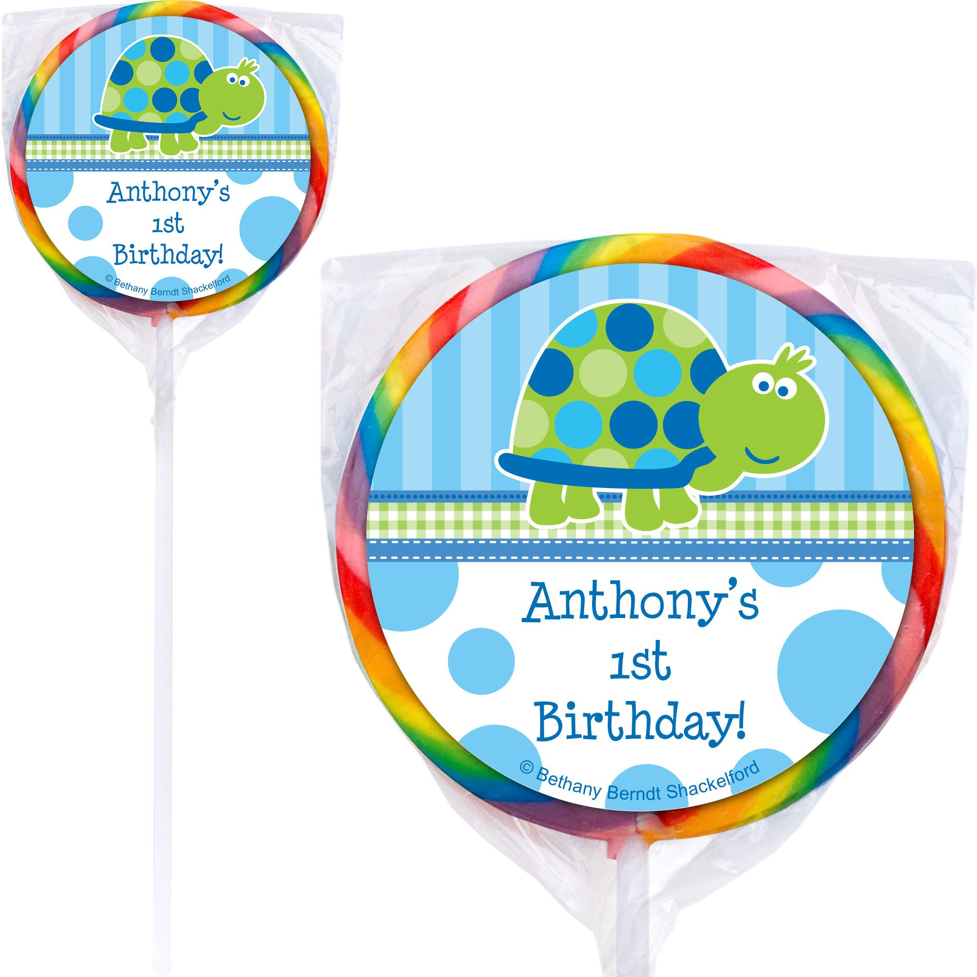 First Birthday Turtle Personalized Lollipop (pack of 12) BB101687-P