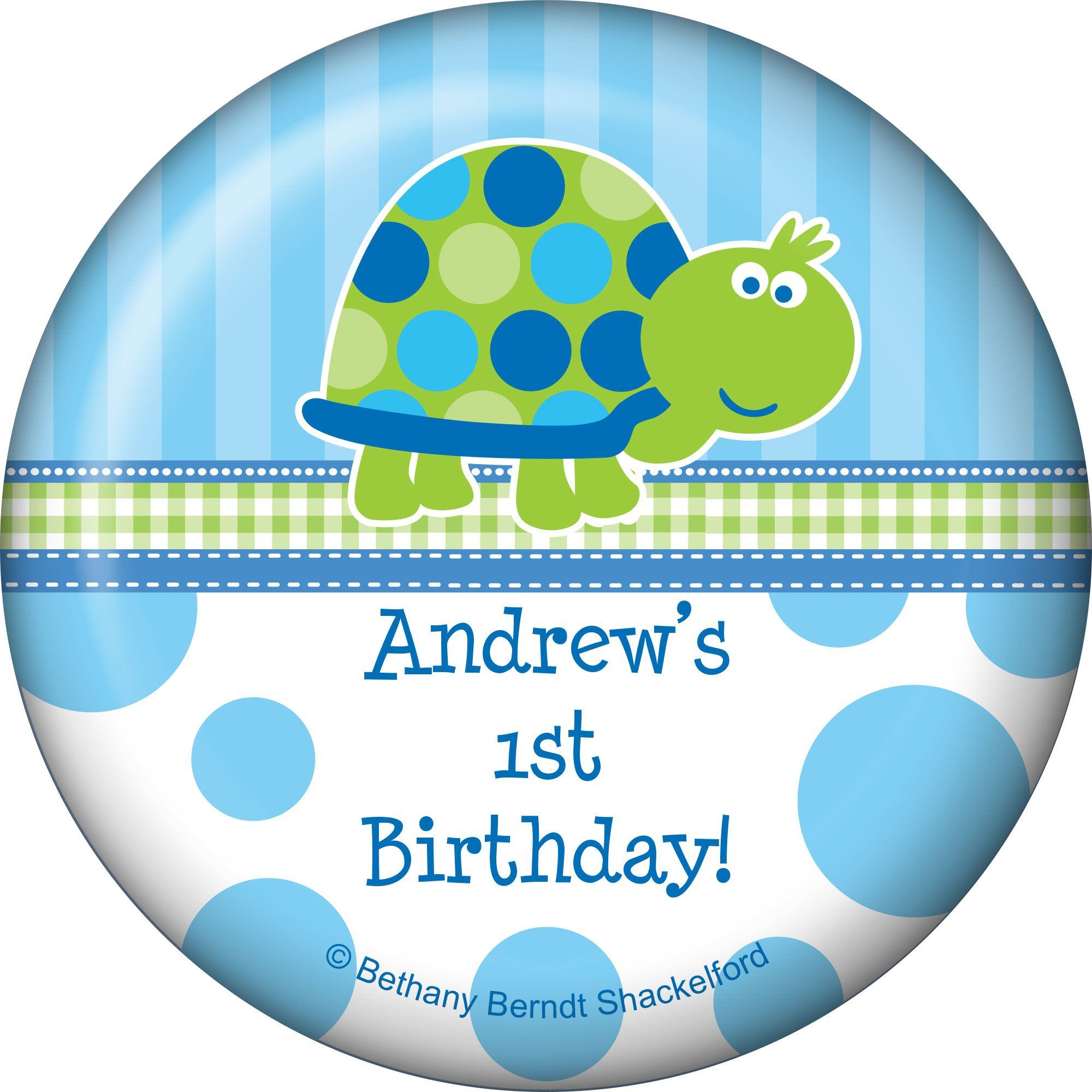 First Birthday Turtle Personalized Magnet - Party Supplies BB101690