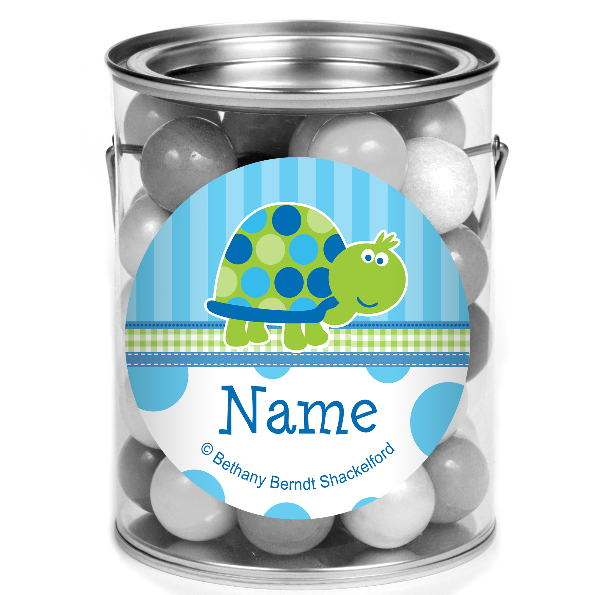 First Birthday Turtle Personalized Mini Paint Cans (12 Count) BB101686PCM