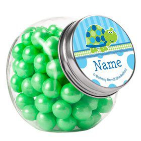 First Birthday Turtle Personalized Plain Glass Jars (12 Count)