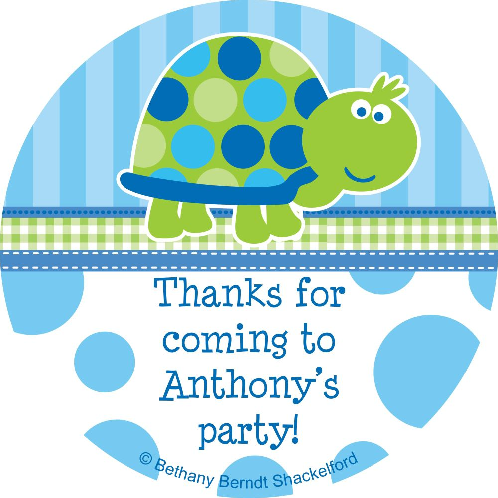 First Birthday Turtle Personalized Sticker - Party Supplies BB101686