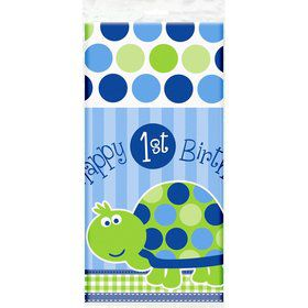 First Birthday Turtle Plastic Tablecover (each)
