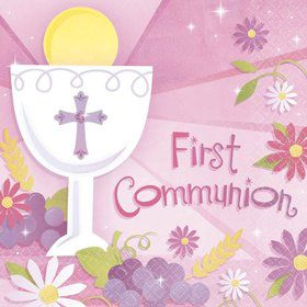 First Communion Girl Luncheon Napkins (36 Pack)