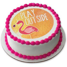 "Flamingo 7.5"" Round Edible Cake Topper (Each)"