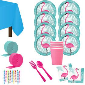 Flamingo Fun Deluxe Tableware Kit (Serves 8)