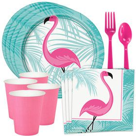Flamingo Fun Standard Tableware Kit (Serves 8)