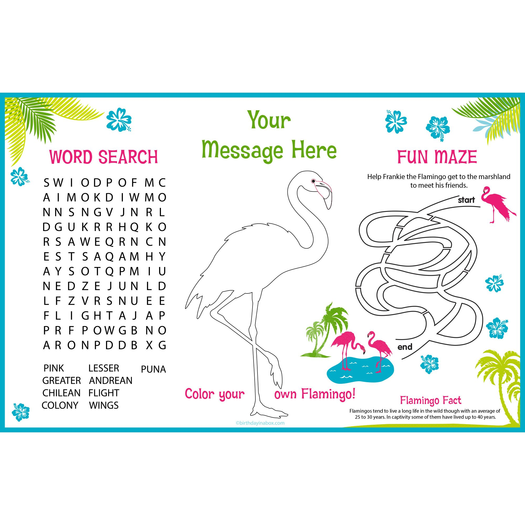 Flamingo Personalized Activity Mat (8 Pack) - Party Supplies BB1456AM