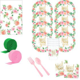 Floral Baby Shower Deluxe Tableware Kit (Serves 24)