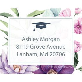 Floral Graduation Personalized Rectangular Stickers (Sheet of 15)
