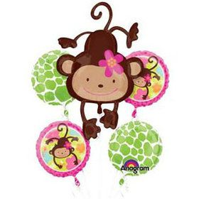 Floral Monkey Mylar Balloon Bouquet (each)