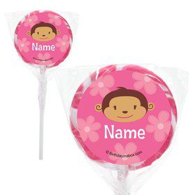 "Flower Monkey Personalized 2"" Lollipops (20 Pack)"