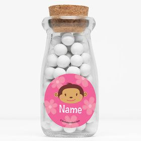 "Flower Monkey Personalized 4"" Glass Milk Jars (Set of 12)"
