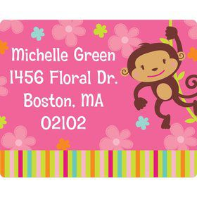 Flower Monkey Personalized Address Label (Sheet of 15)