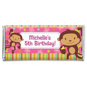 Flower Monkey Personalized Candy Bar Wrapper (Each)