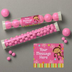 Flower Monkey Personalized Candy Tubes (12 Count)