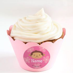 Flower Monkey Personalized Cupcake Wrappers (Set of 24)