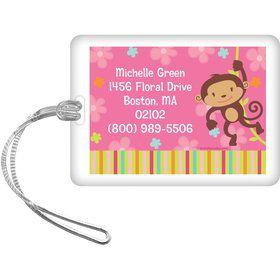 Flower Monkey Personalized Luggage Tag (each)
