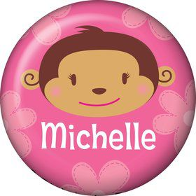 Flower Monkey Personalized Mini Button (each)