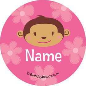 Flower Monkey Personalized Mini Stickers (Sheet of 20)