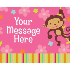 Flower Monkey Personalized Rectangular Stickers (Sheet of 15)
