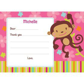 Flower Monkey Personalized Thank You Note (each)