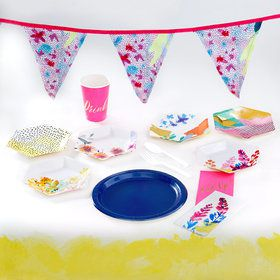 Fluorescent Floral 12 Guest Party Pack
