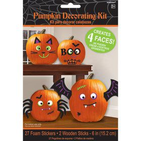 Foam Pumpkin Decorating Kit with Faces (26 Pieces)