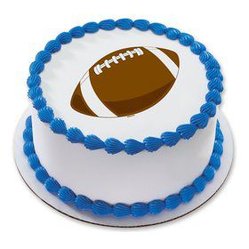 "Football 7.5"" Round Edible Cake Topper (Each)"