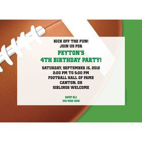 Football Party Personalized Invitation (each)