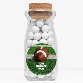"Football Personalized 4"" Glass Milk Jars (Set of 12)"