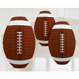 "Football Shaped 12"" Paper Lantern Decorations (3 Pack)"