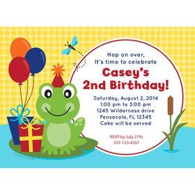 Frog Pond Fun Personalized Invitation (Each)