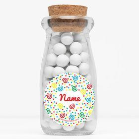 """Frosted Cake Personalized 4"""" Glass Milk Jars (Set of 12)"""