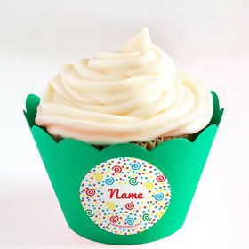 Frosted Cake Personalized Cupcake Wrappers (Set of 24)