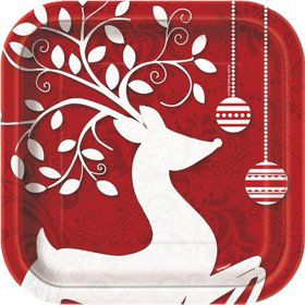 "Frosted Holiday 7"" Cake Plates (10 Pack)"