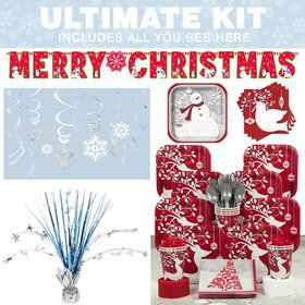 Frosted Holiday Party Ultimate Tableware Kit Serves 20