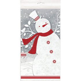 Frosted Holiday Plastic Table Cover (Each)