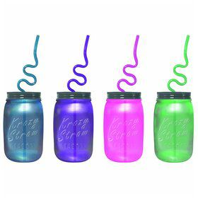 Frosted Mason Jar 16Oz. Sipper Bottle W/ Krazy Straw (Each)