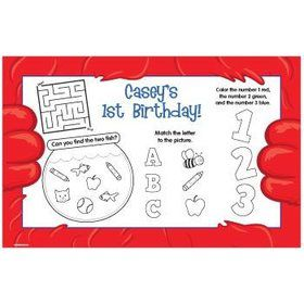 Fuzzy Friends 1st Birthday Personalized Activity Mats (8-pack)