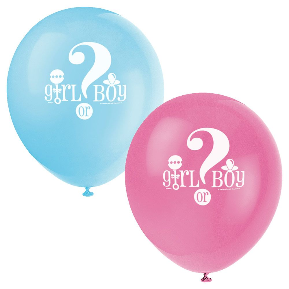 "Gender Reveal 12"" Latex Balloons (8 Pack) - Party Supplies BB47395"