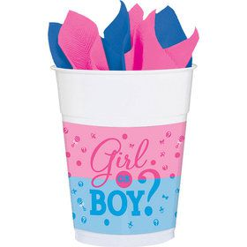Gender Reveal 16oz Plastic Cups (25 Count)