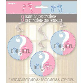 Gender Reveal Hanging Swirl Decorations (Each)