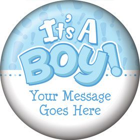 Gender Reveal: It's a Boy Personalized Button (Each)